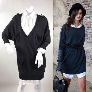 Lanvin en Bleu Size 6/38 Sweater Shirt Dress